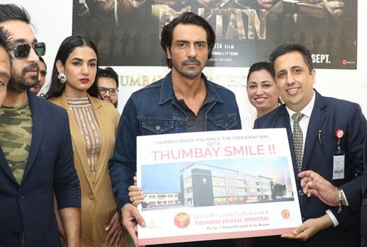 Bollywood Stars Arjunrampal Sonusood Sonalchauhan Visit Thumbay Medicity Ajman