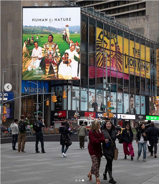 Kerala Tourism advertisement found Its way to New York city's Times Square