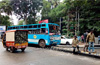 8 injured as speeding bus climbs divider, rams into electric pole