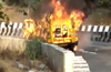 Narrow escape for 11 of family from Kundapur as vehicle catches fire near Lonavala