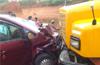 Six injured as lorry hits car, two-wheeler near Kadaba