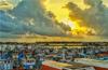 Deep sea fishing boats return to Bundar port (Dakke) in city