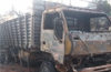 Eicher vehicle loaded with chairs used for anti-CAA rally torched by miscreants