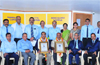 Nitte University felicitates Ananthram Shetty and Krishna Kumar Punja