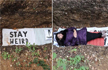 University students climb into their own makeshift �grave� to relax