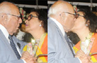 Oops! Ram Jethmalani snapped kissing Leena Chandavarkar
