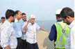 Ailing Goa Chief Minister Manohar Parrikar, inspects half-constructed bridge on Mandovi river