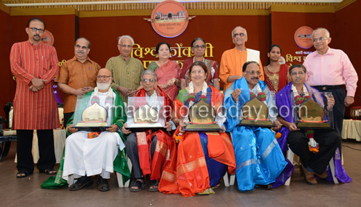 Five  eminent   Konkani achievers  were conferred the Vimala Pai Vishwa Konkani Awards 2014 at a  function held at the TV Raman Pai Convention Centre in the city on November 6, Thursday.