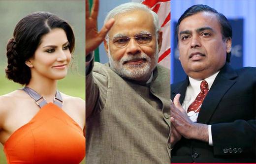 Modi,Ambani and Sunny Leone top the Yahoo India 2014 search list